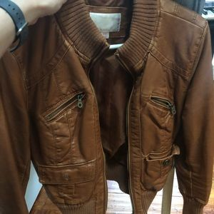 Size medium brown leather coat by xhiliration